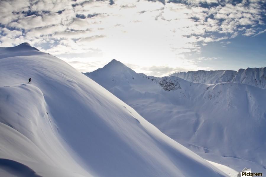 Man Backcountry Skiing In Powder Snow At Wolverine Bowl, Turnagain Pass, Kenai Mountains, Southcentral Alaska, Winter  Print