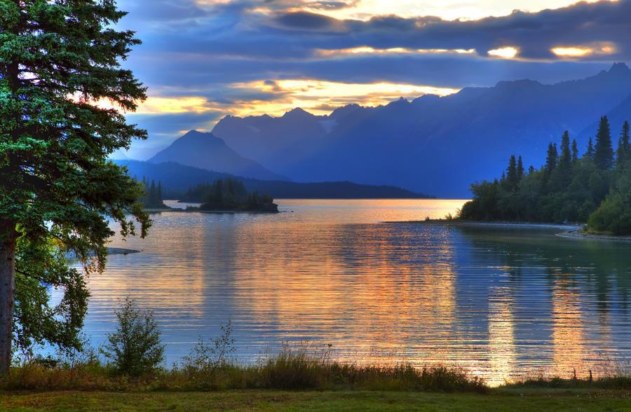 Sunrise On Lake Clark In Lake Clark National Park, Southcentral, Alaska, Hdr Image  Print