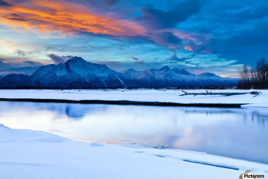 Scenic View At The Eklutna Tailrace Off The Old Glenn Highway In The Matanuska-Susitna Valley, Southcentral Alaska, Hdr  Print