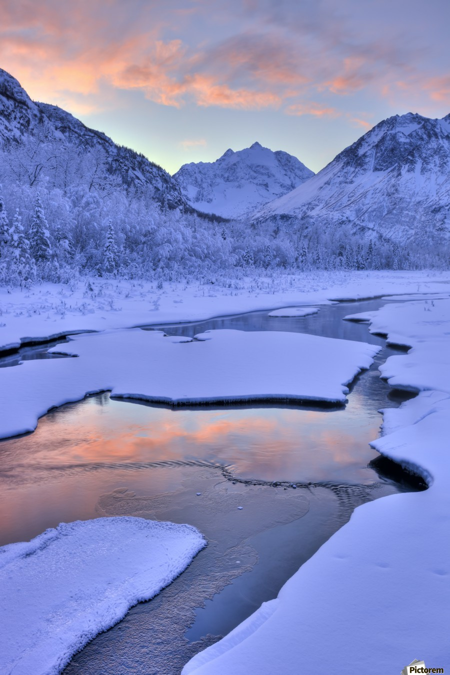 Colorful Sunrise Over A Stream At The Eagle River Nature Center In Chugach State Park, Southcentral Alaska, Winter, Hdr  Print