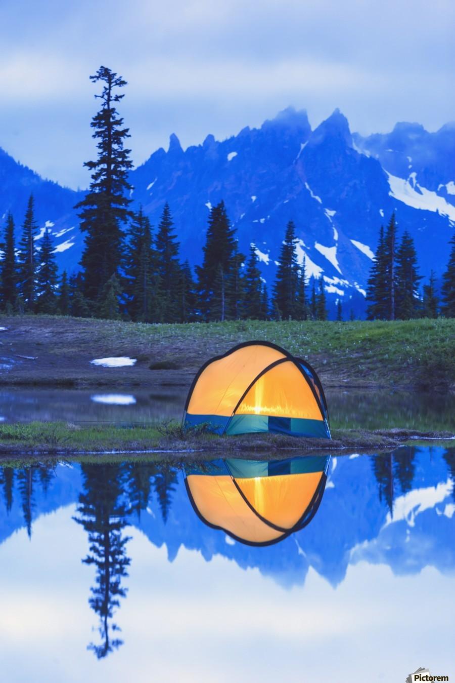 Camping tent at sunset small reflecting pond near tipsoo lake mount rainer national park near seattle;Washington united states of america  Print