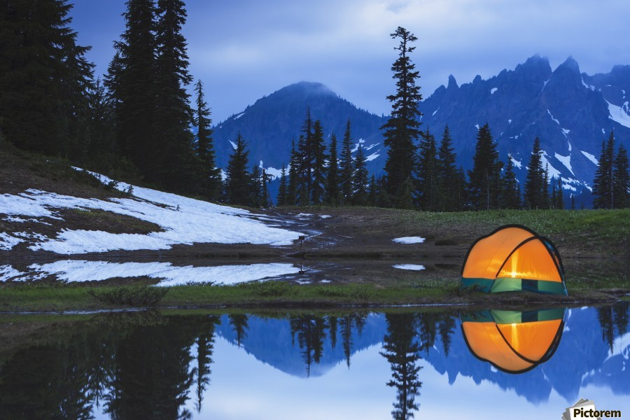 Camping tent at sunset by a small reflecting pond near tipsoo lake mount rainer national park near seattle;Washington united states of america  Print