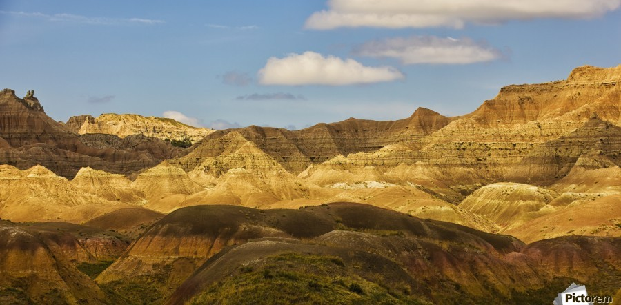 Dramatic light on the eroded formations of badlands national park; south dakota united states of america  Print