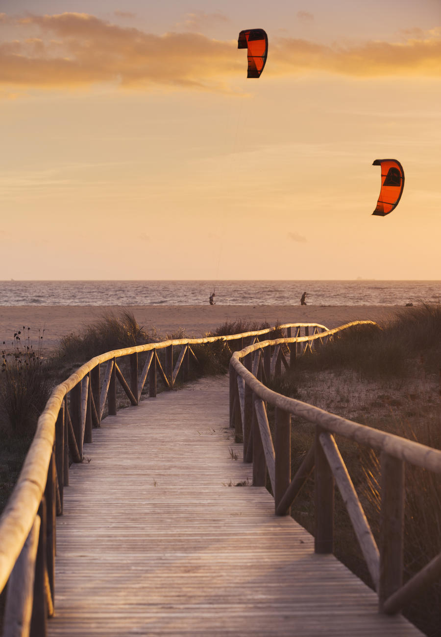 Spain, Andalusia, Cadiz, Costa de la Luz, Parasurfing; Tarifa  Print