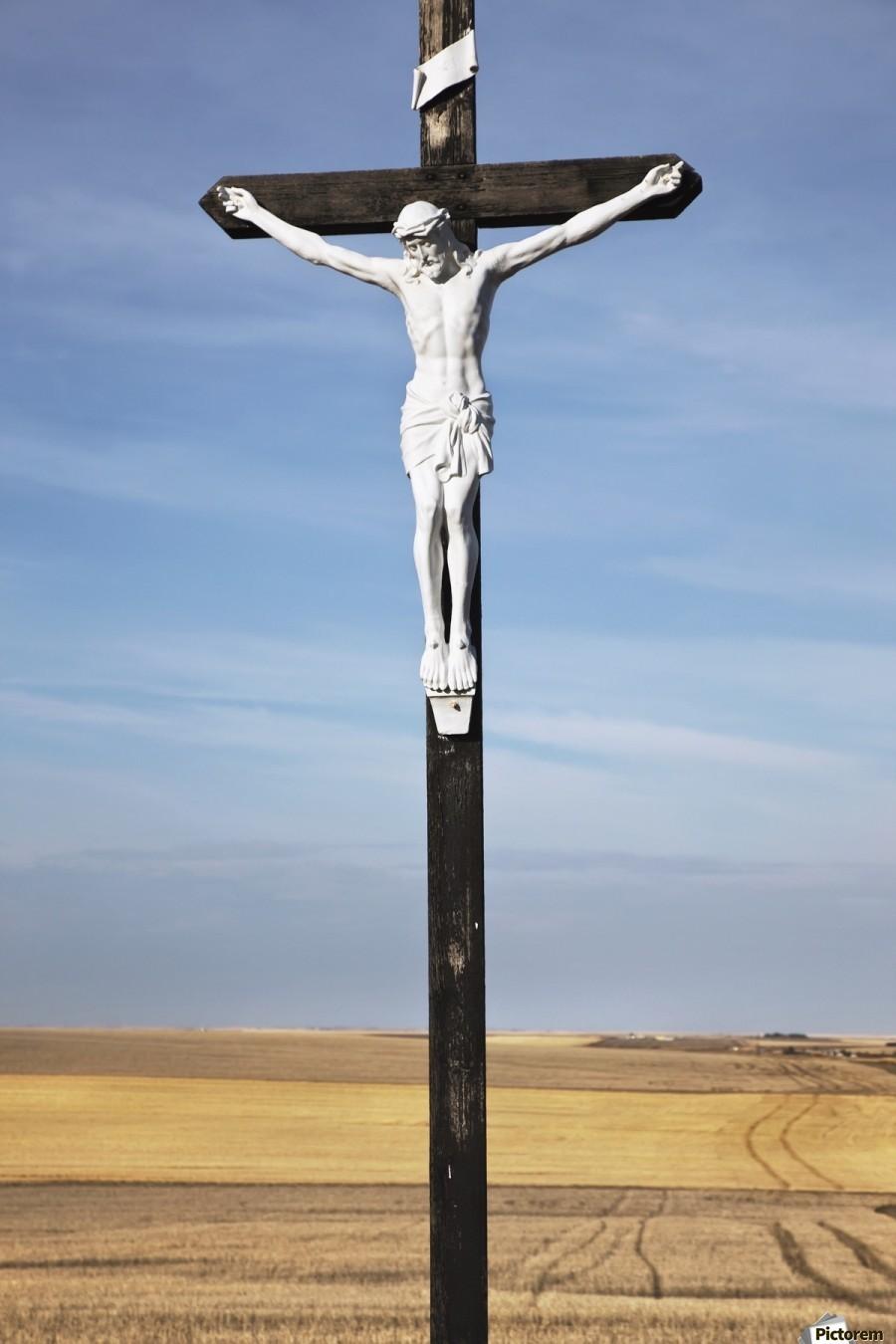 Crucifix and a farm field in the background;Saskatchewan canada  Print