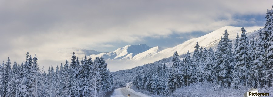 Clouds Clearing Over Seward Highway From The Kenai Mountains Above Turnagain Pass After A Winter Snow Storm, Fresh Snow In The Trees, Early Morning Sun, Turnagain Pass, Chugach National Forest, Southcentral Alaska, Usa.  Print