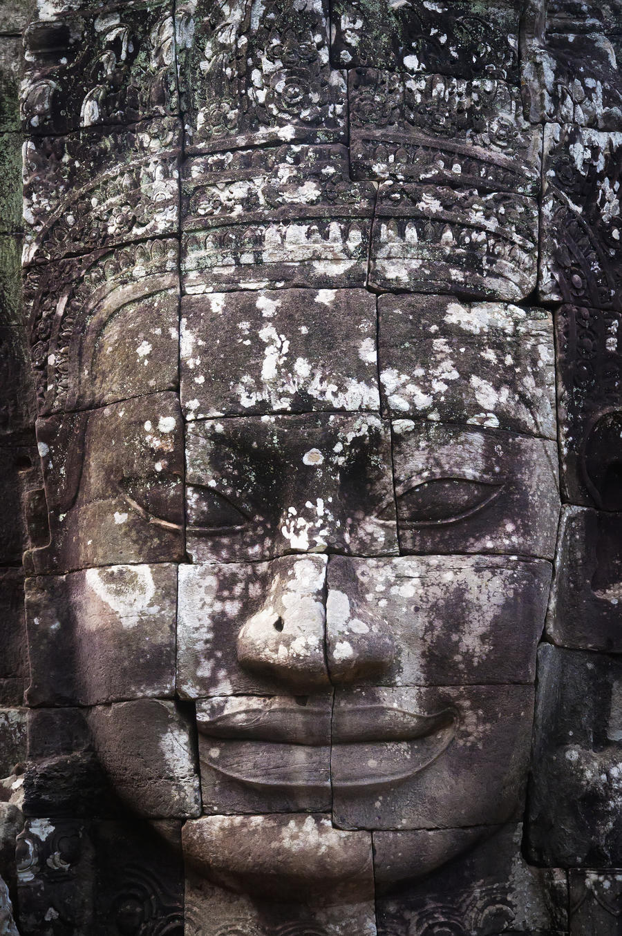 A face sculpture on a stone wall at angkor wat;Cambodia  Print