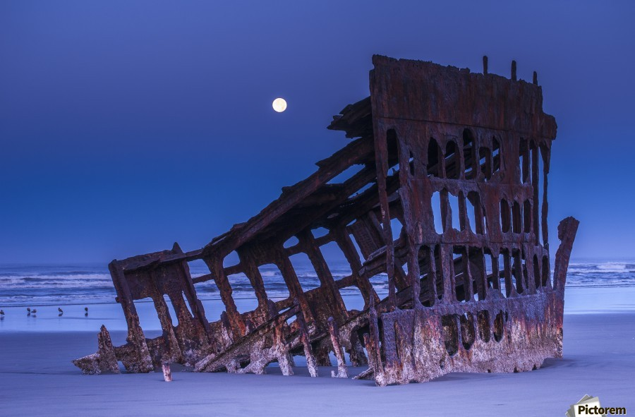The moon sets over the wreck of the Peter Iredale; Oregon, United States of America  Print