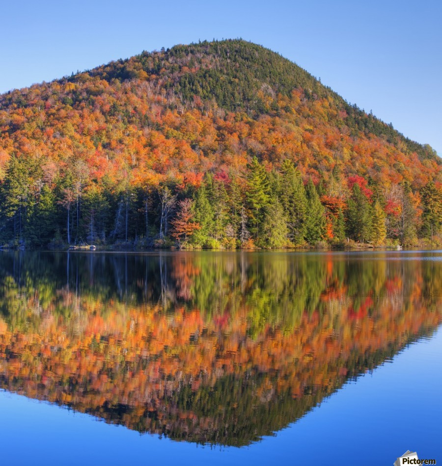 Mountain reflected in Sugarloaf pond in autumn; Quebec, Canada  Print