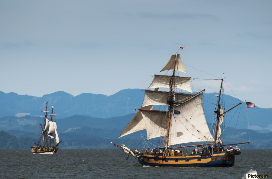 Tall ships sail on the Columbia River near Astoria; Oregon, United States of America  Print