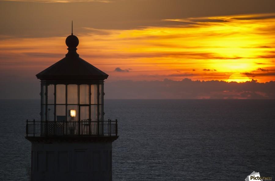 A sunset at North Head Lighthouse; Ilwaco, Washington, United States of America  Print