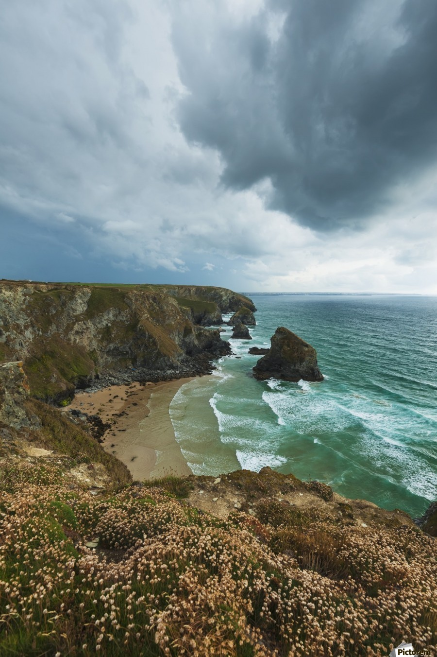 Bedruthan Steps; Cornwall, England  Print