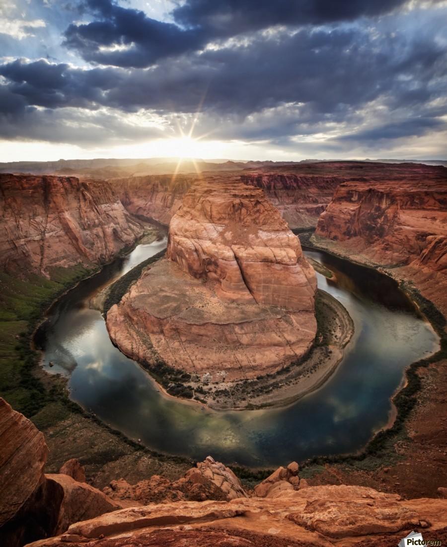 Dramatic sunset at Horseshoe Bend; Page, Arizona, United States of America  Print