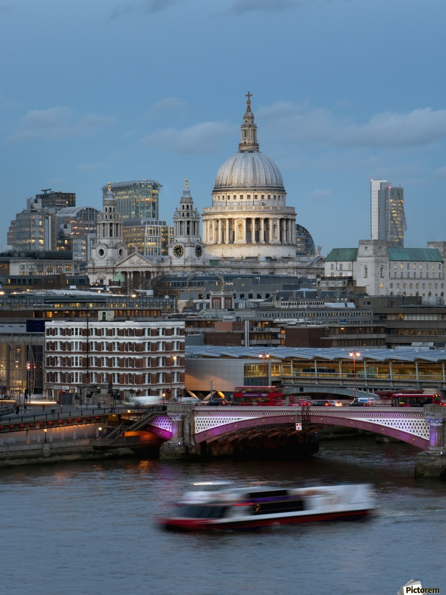 St. Paul's Cathedral and Blackfriars; London, England  Print