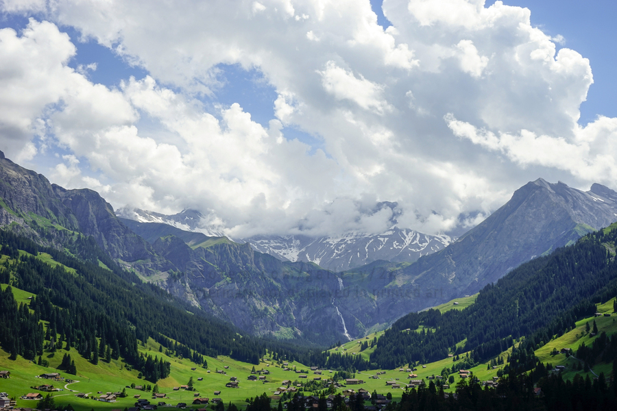 Beautiful Day in the Valley and Mountains of Adelboden Switzerland  Print