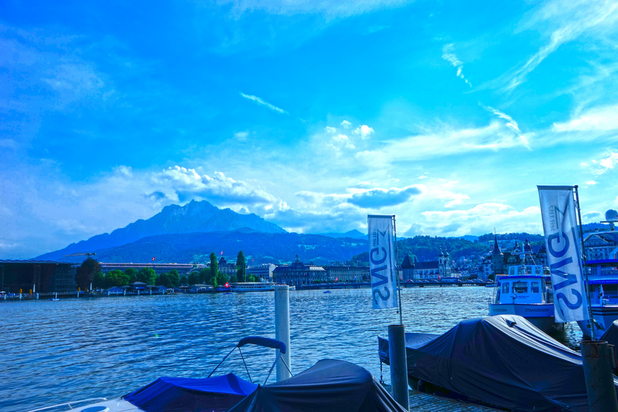 Blue Day Mount Pilatus on the Shores of Lake Lucerne   Central Swiss Alps  Print