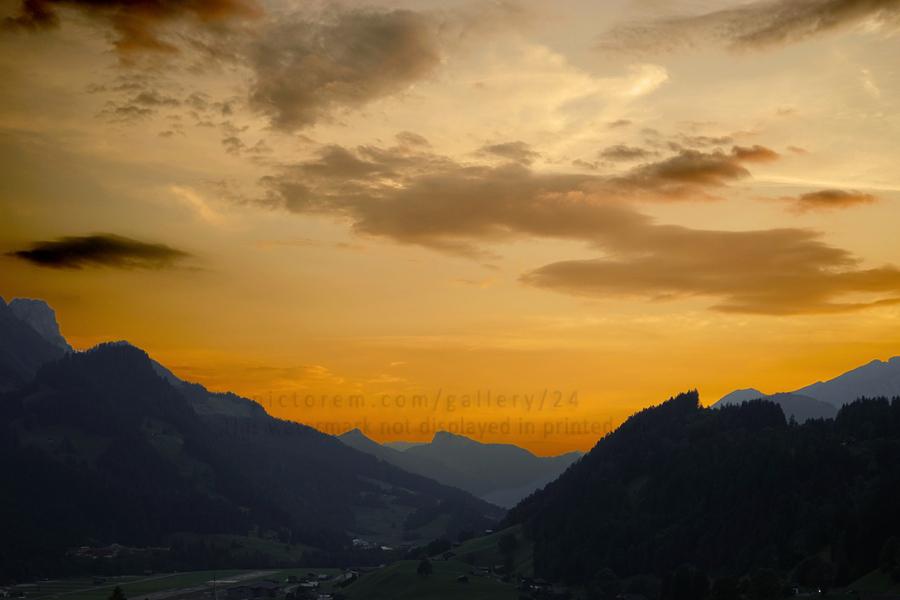 Sunset in the Saanen Valley in Switzerland  Print