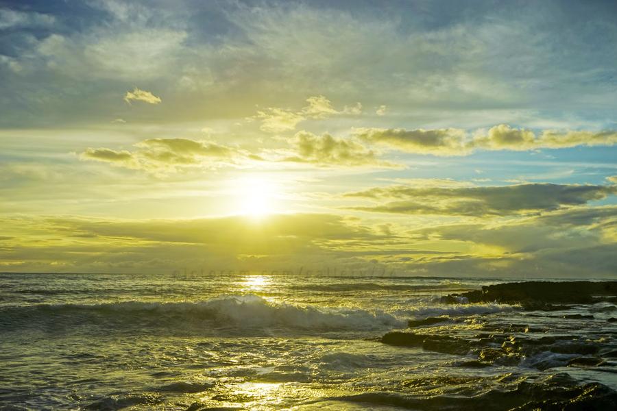 The Sun Sets at the Tidal Pools Hawaii  Print