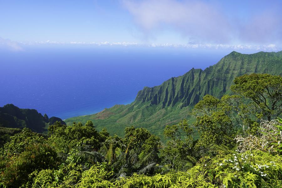 Blue Skies Puu O Kila Lookout Kohala Mountains on the Island of Kauai in Hawaii  Print