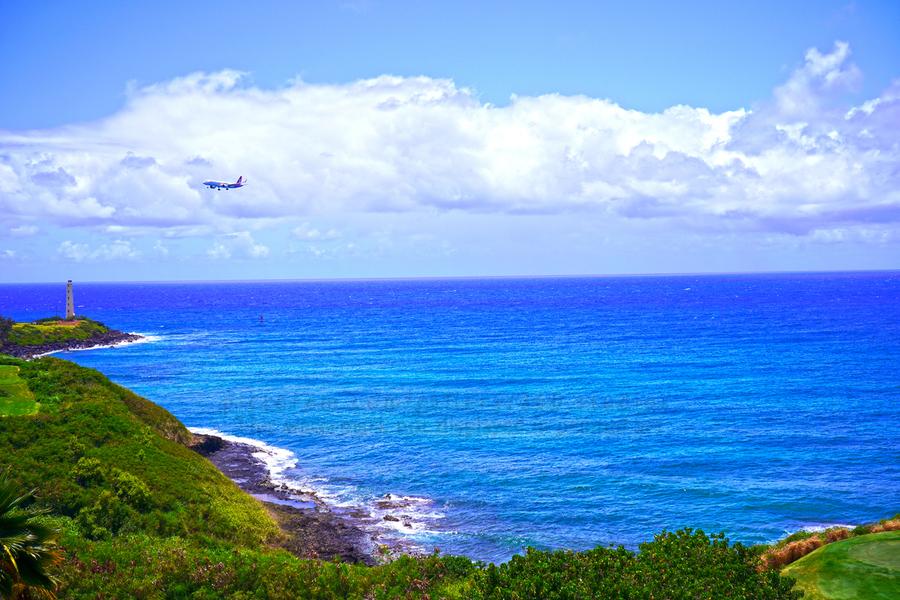 Hawaiian Airlines Flight Landing at Lihue Airport on the Island of Kauai  Print