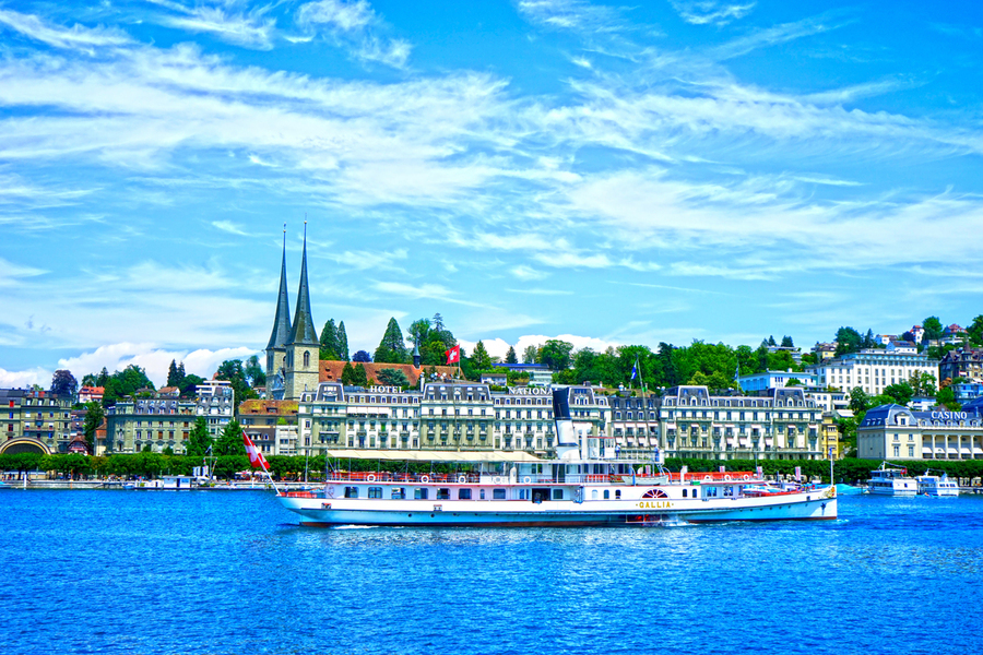 Old Town along the Coast in Lucerne Switzerland  Print