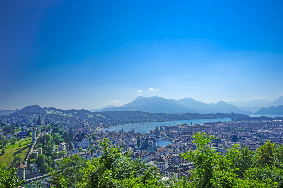 Stunning View Musegg Wall to Chapel Bridge to Lucerne and the Alps   Lucerne Switzerland  Print