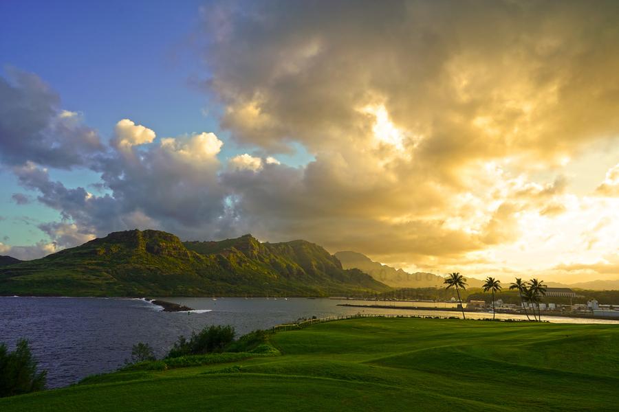 Sunset Nawiliwili Bay Kauai Hawaii  Print