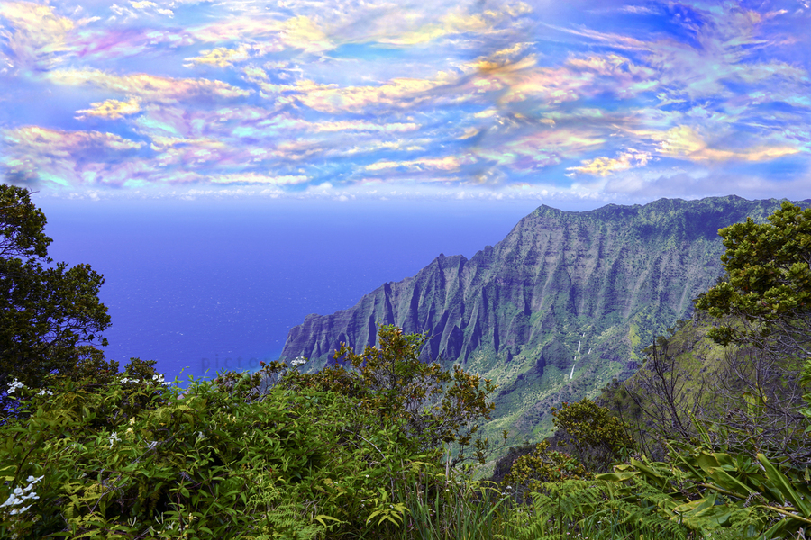 Sunset at Puu O Kila Lookout Kohala Mountains on the Island of Kauai in Hawaii  Print