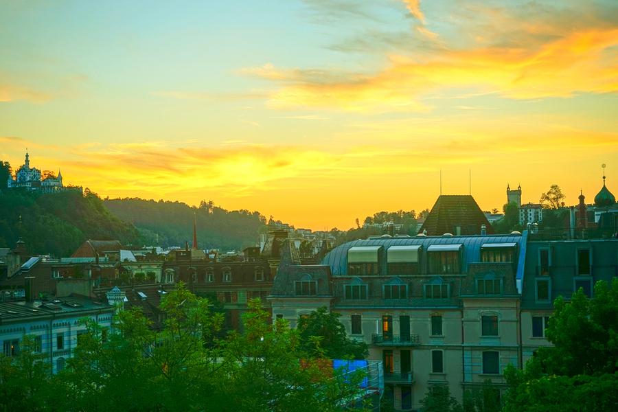 Sunset over Lucerne Switzerland  Print