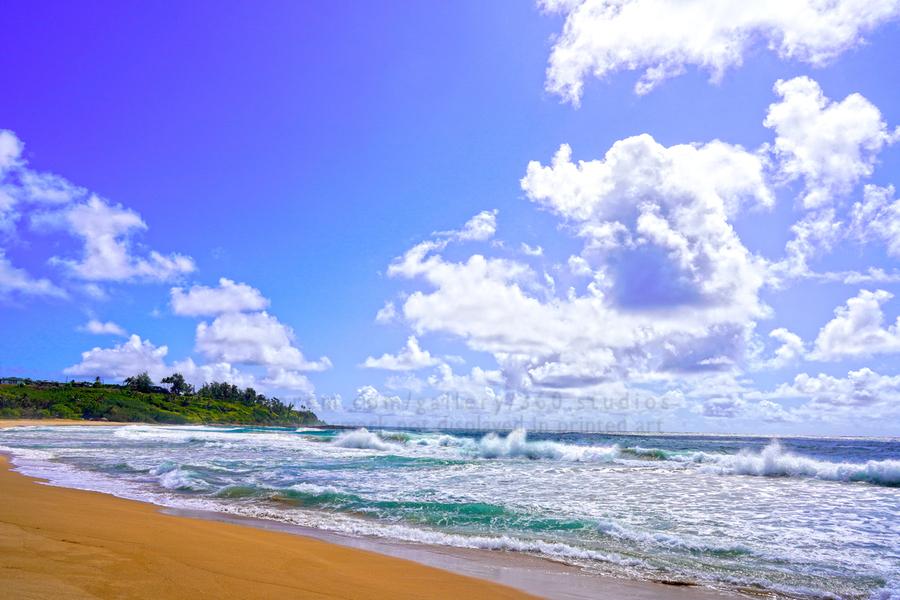 Wild Day at Wailua Beach on the Island of Kauai  Print