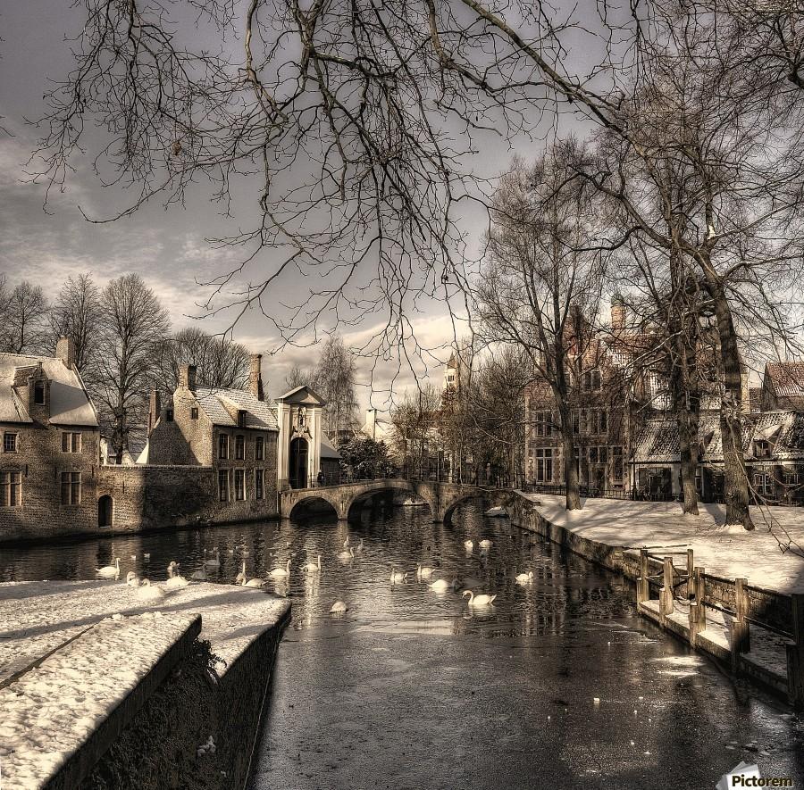 Bruges in Christmas dress  Print
