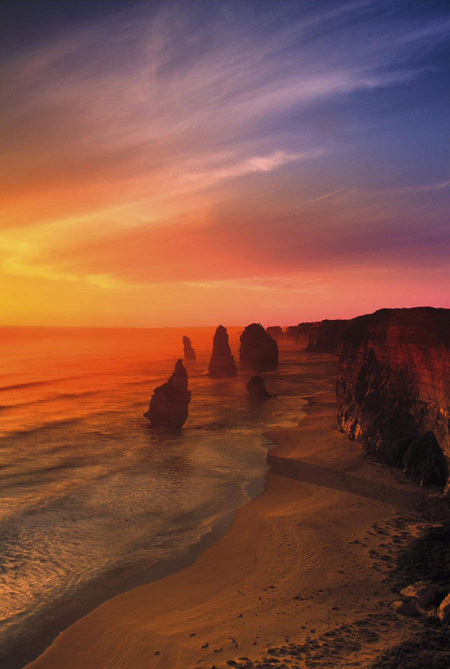 Sunset And Rock Formations  Print