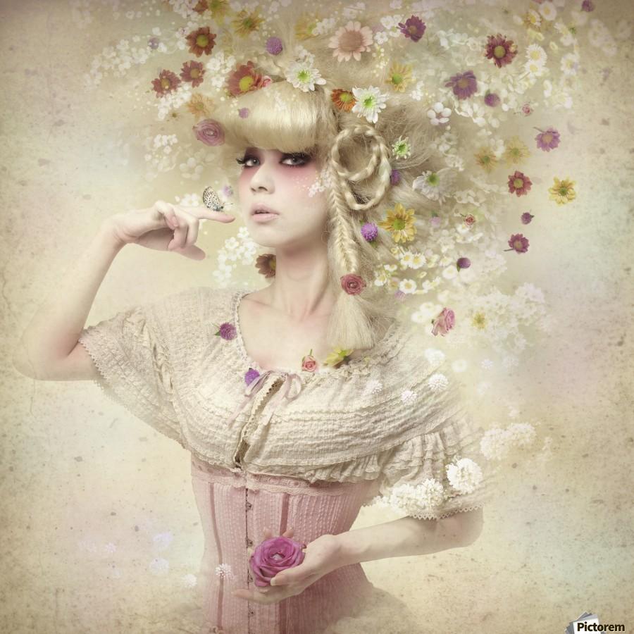 Girl of the flower garden  Print