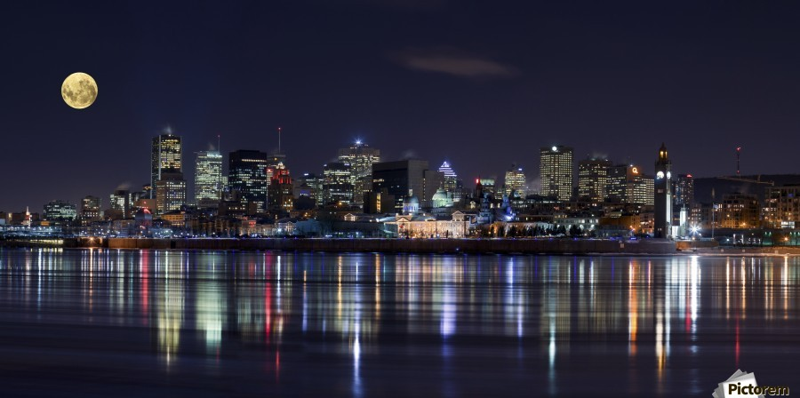 Montreal Night , 1x , NIGHT,ARCHITECTURE,CITYSCAPE,SKYLINE,CITY,URBAN,COLOR,COLORFUL,LIGHTS,MOON,MONTREAL,REFLECTION,WATER,SEASCAPE,MONLIGHT,COLOUR,COLOURFUL,SKYSCRAPER,BUILDINGS,LAMPS,TOWER,SKY,ASTRONOMY,FULL MOON,FULL,ROUND,CIRCLE,MIRROR,CANADA,COLORS,METROPOLIS,PANORAMA