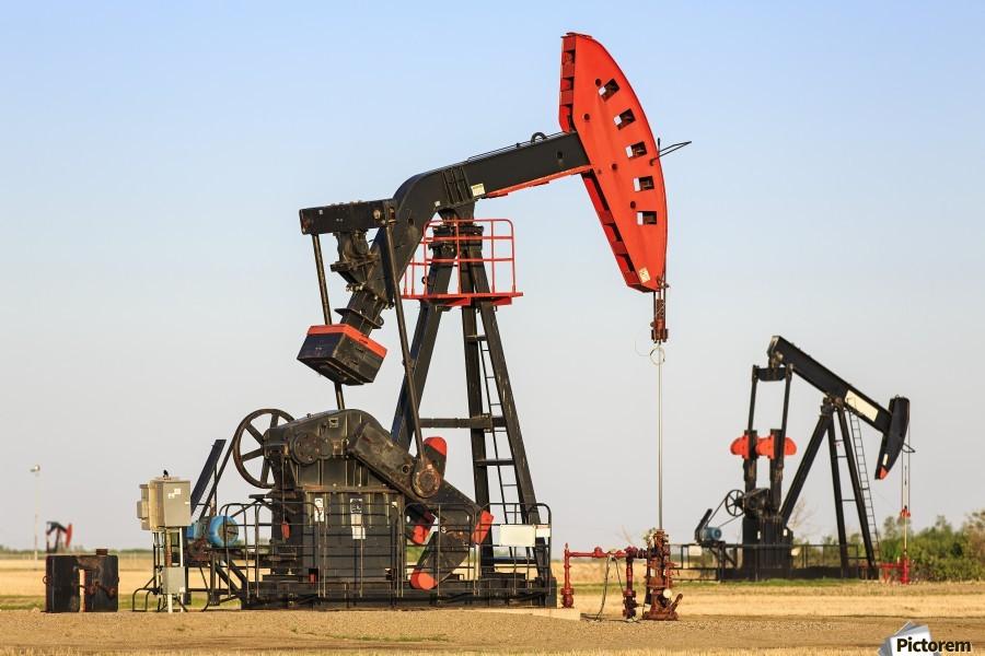 Oil well pump jacks at Bakken Oil Field near Estevan; Saskatchewan, Canada  Print
