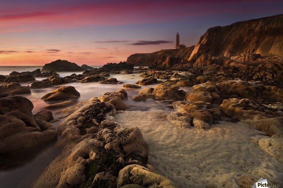 My Refugee by Paulo Penicheiro  , 1x , landscape,seascape,lighthouse,sunset,rock,coast,pink,tower,shore,beach,calm,evening,serene,still,milky