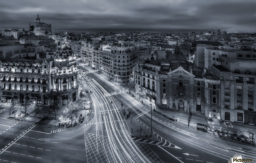 Madrid City Lights  Print