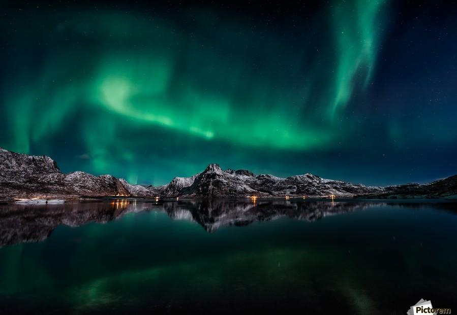 Lofoten Aurora Reflection 1x Canvas