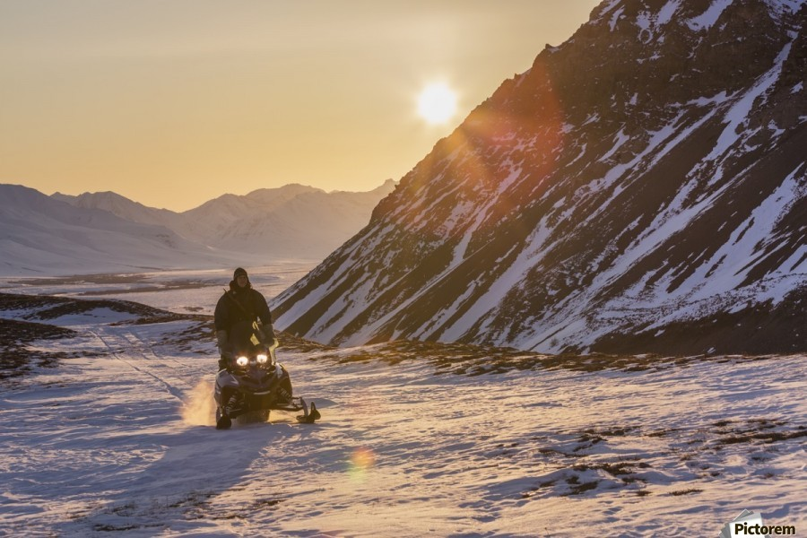 Man riding a snowmachine up the Anaktuvuk River Valley at sunset, Gates of the Arctic National Park, Brooks Range, Arctic Alaska  Print