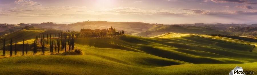Waves of Light by Javier de la , 1x , landscape,tuscany,paorama,cypress,sun,sunrise,road,house,hill,wave,light