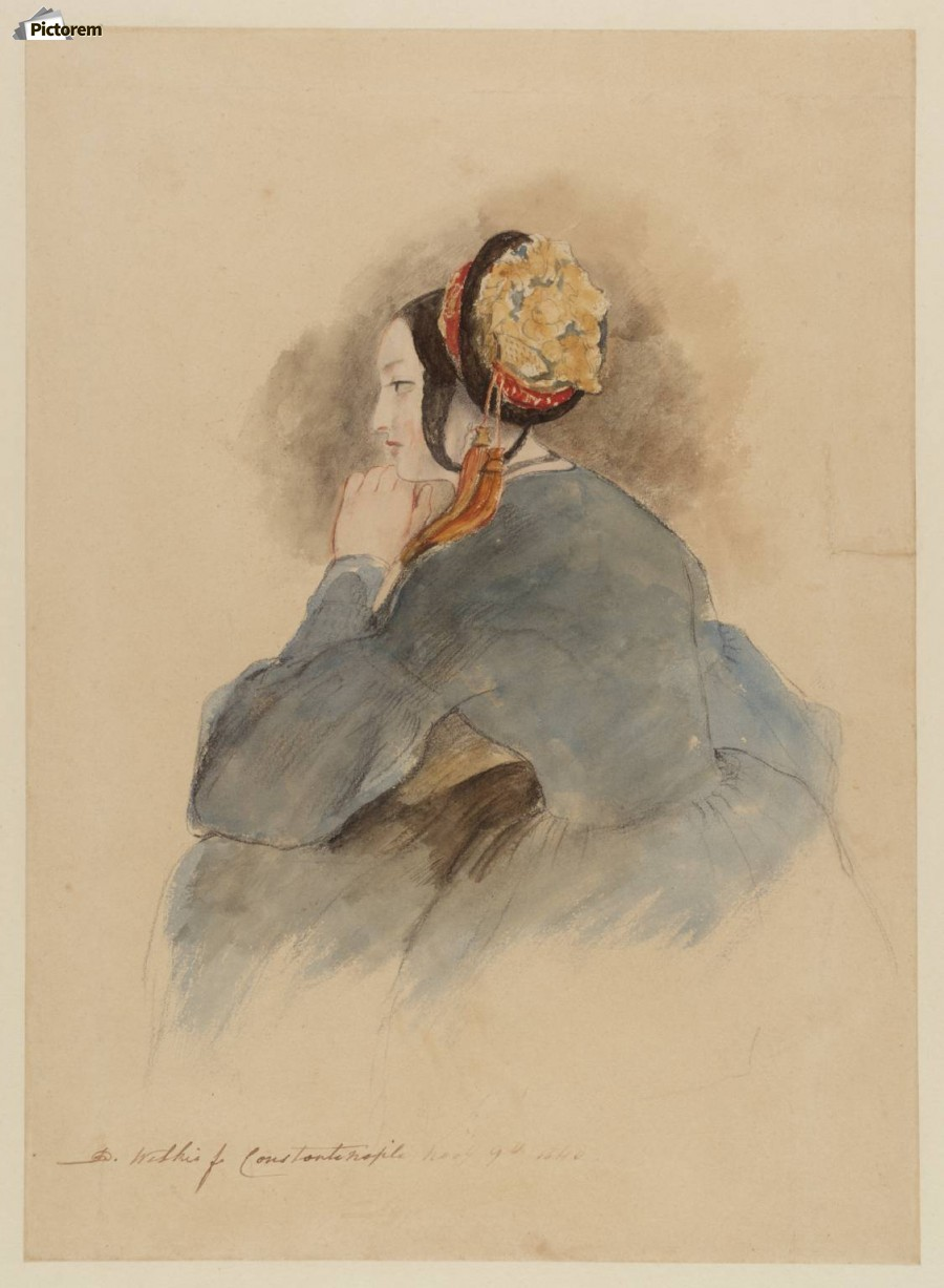 A Girl Seated, in Profile to Left  Print