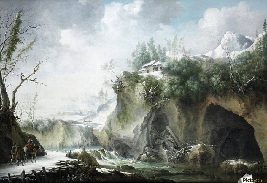 A River Landscape in Winter, With Travellers on a Snowy Path  Print