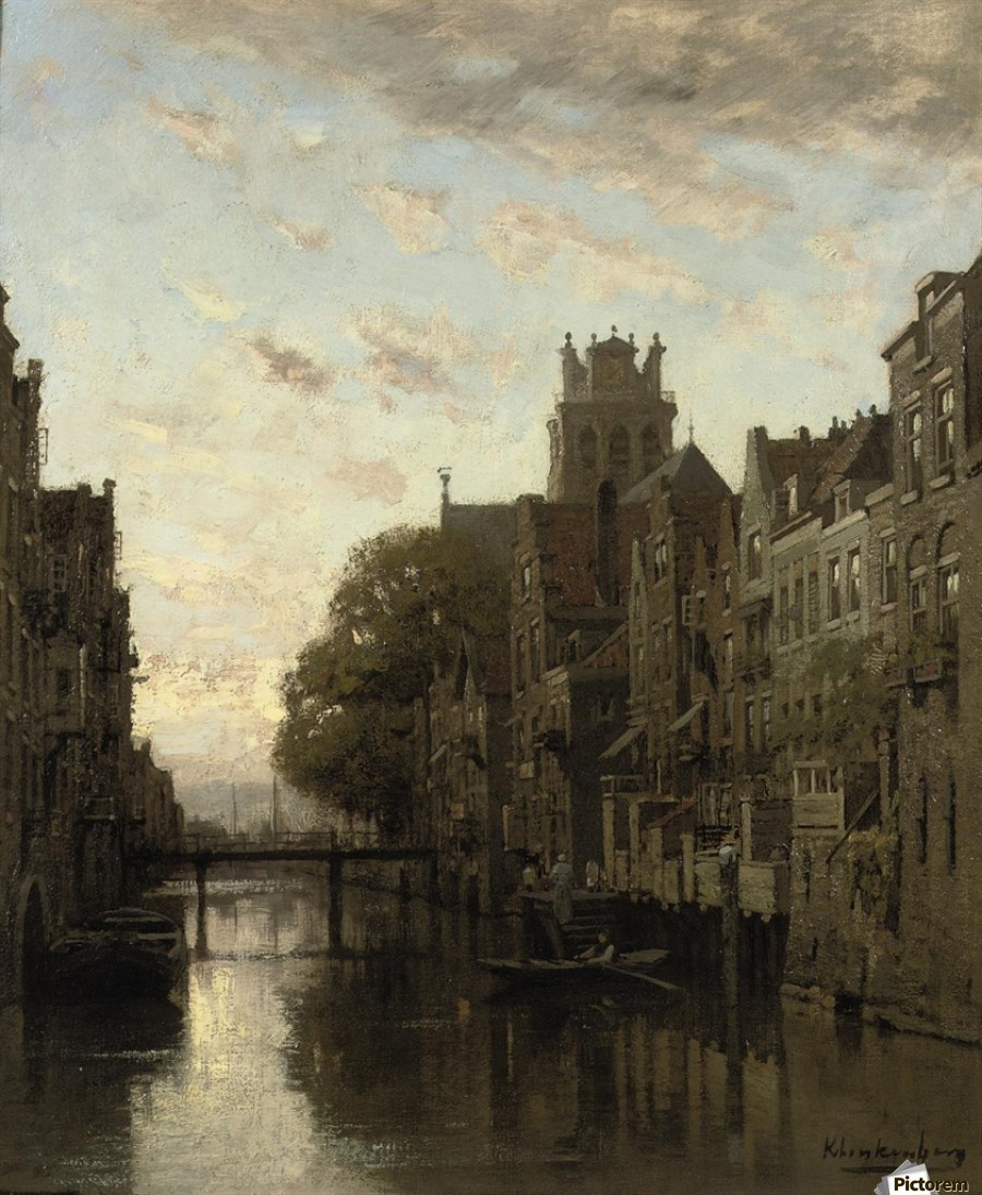 A View of the Voorstraathaven with the Grote Kerk Beyond, Dordrecht  Print