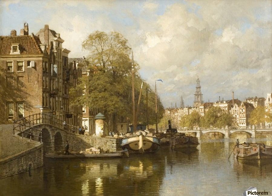 A View on the Amstel, with the Blauwbrug and the Zuiderkerk, Amsterdam  Print