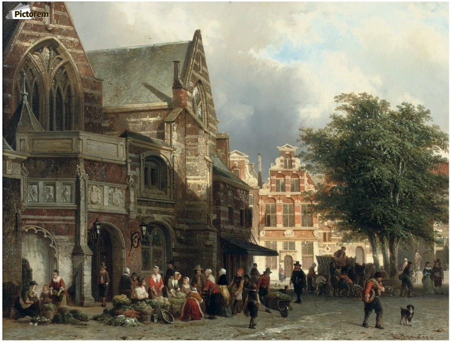 a busy market day in front of the oude kerk amsterdam 25668