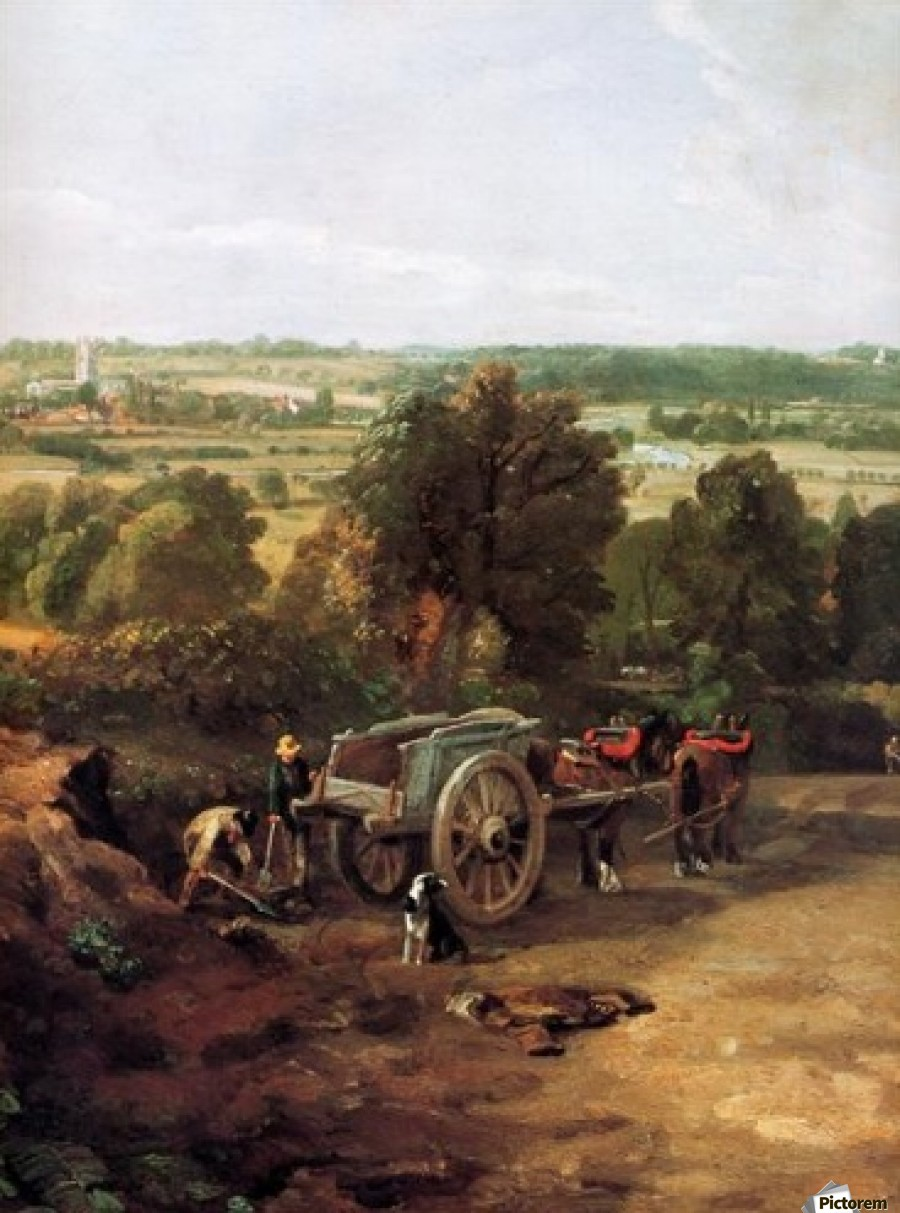 A carriage and a dog at the edge of a city  Print