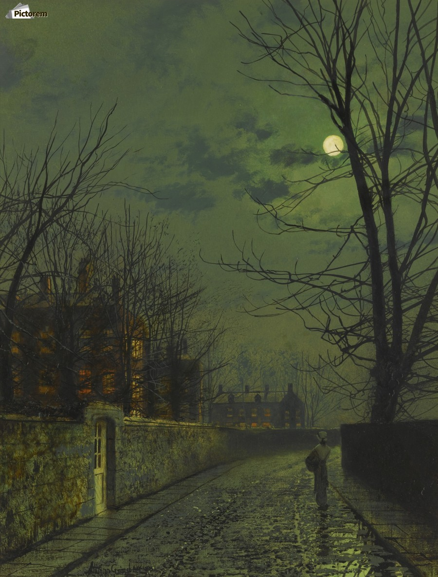A moonlit street after rain  Print