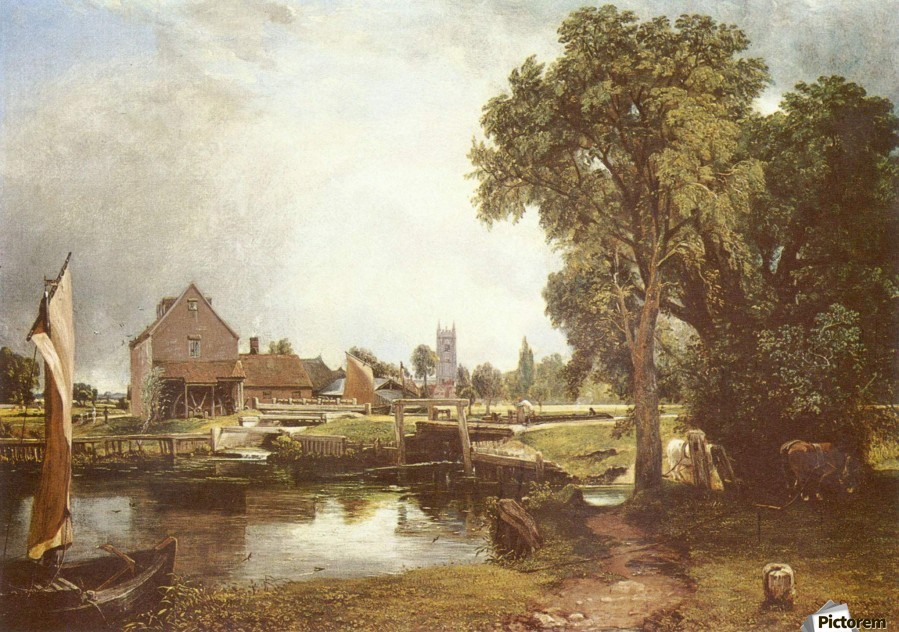 A pond in front of a house  Print