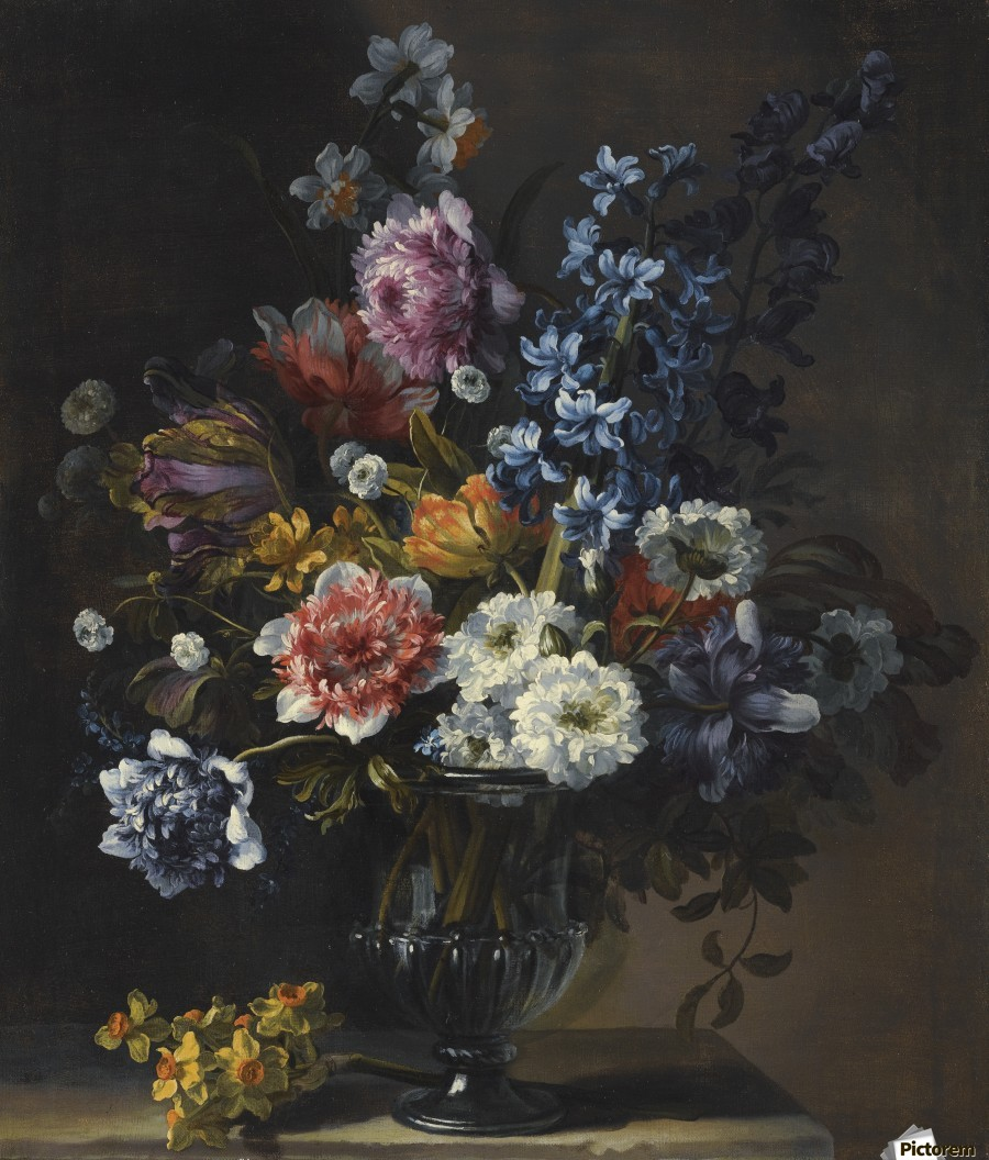 A still life with tulips, a hyacinth, and other flowers in a glass vase on a stone plinth - Jean Baptiste Monnoyer - Canvas Artwork