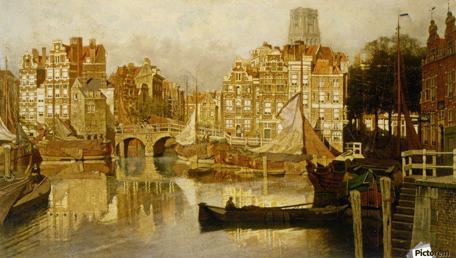 A view of the Blaak Rotterdam  Print